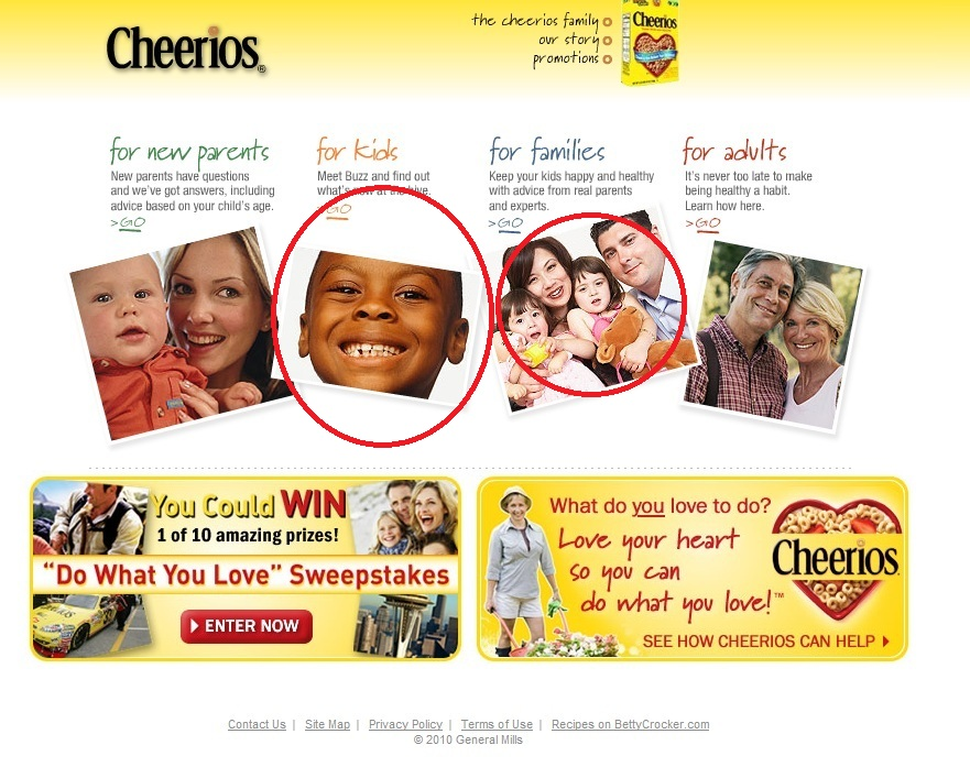 Cheerios Website Main Page