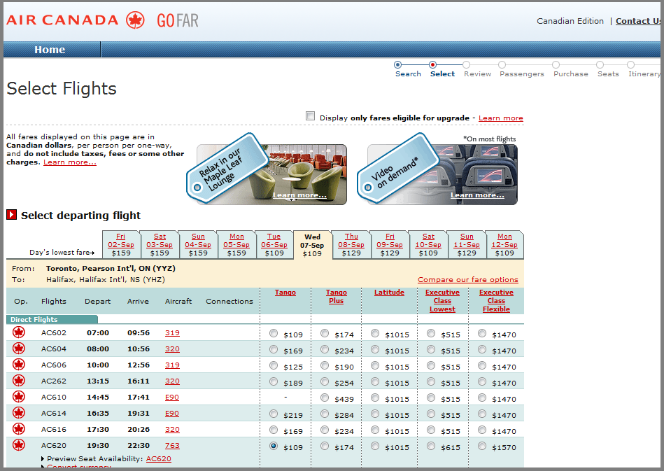 AirCanada.com fare options from the Websaver email