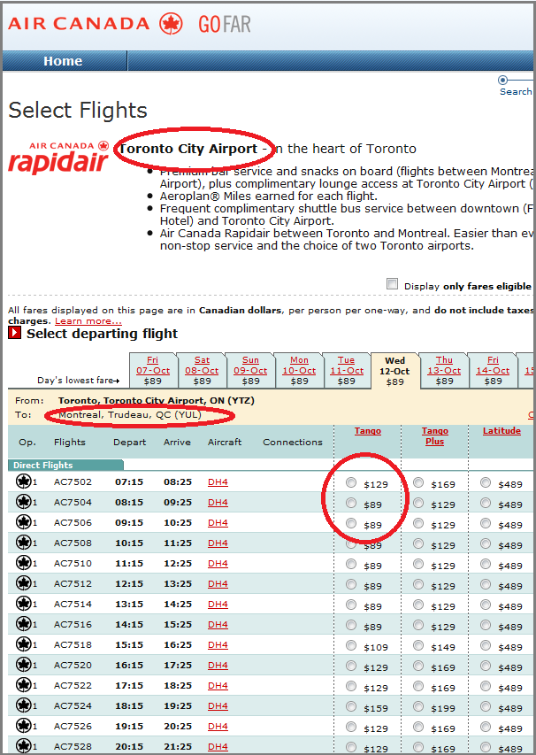 Air Canada ticket prices from Toronto to Montreal--website direct route