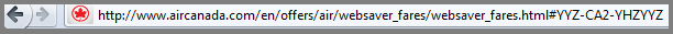 Websaver URL on Aircanada.com