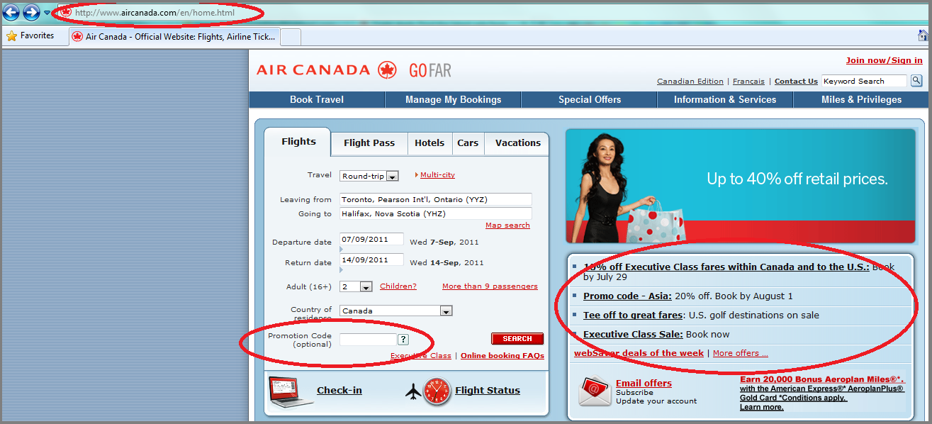 Landing page for Aircanada.com website