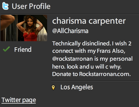 Charisma and I are besties now, according to Twitter.