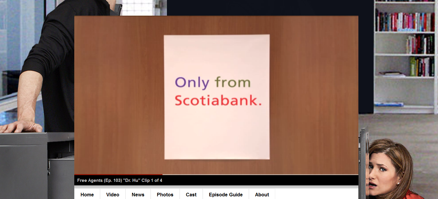 Screenshot of Scotiabank ads on CTV`s show interface