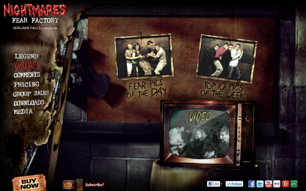 Website for Nightmares Fear Factory