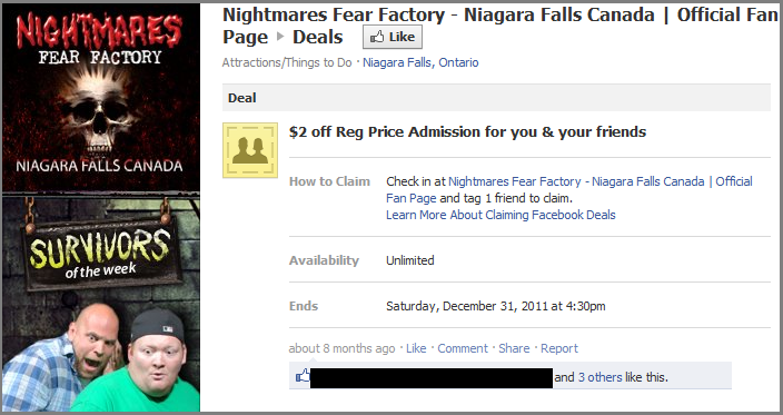 Facebook deals available on Nightmares Fear Factory`s page