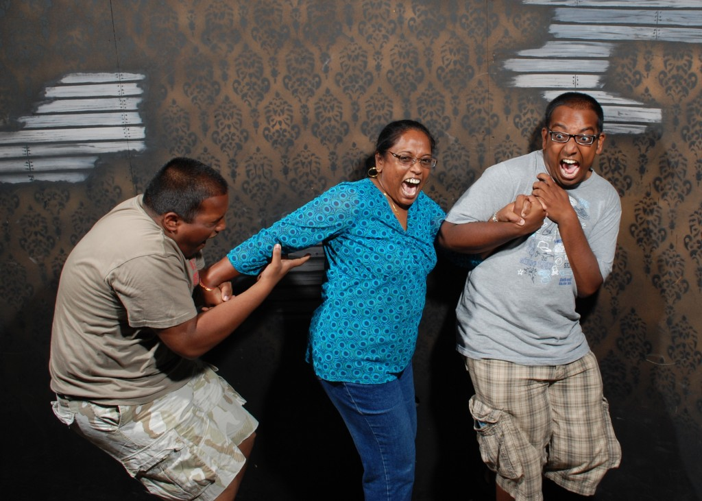 Family wigging out inside Nightmares Fear Factory