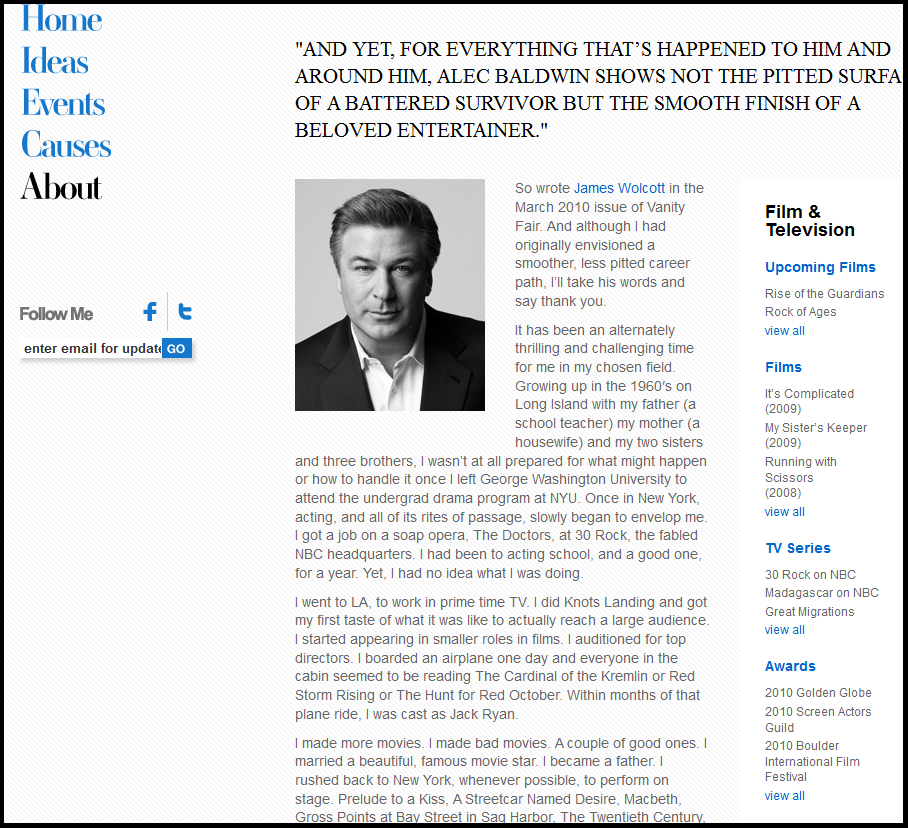 Alec Baldwin biography in his own words