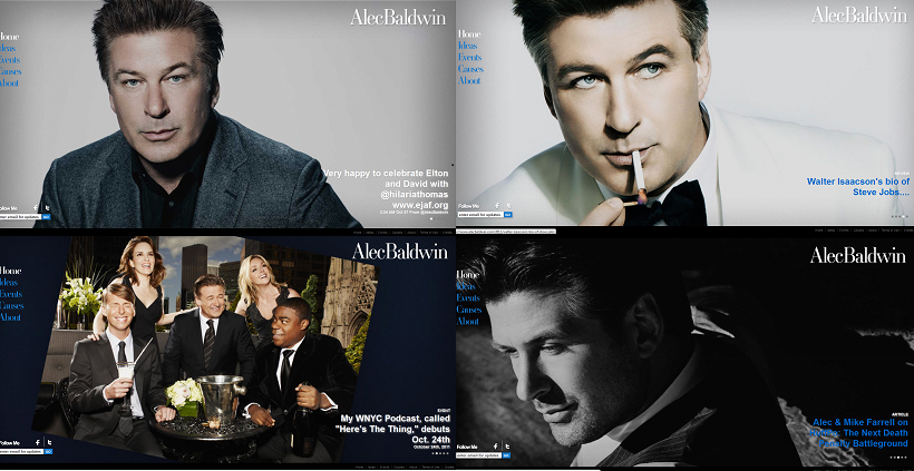 Assorted home page photos on Alec Baldwin's website