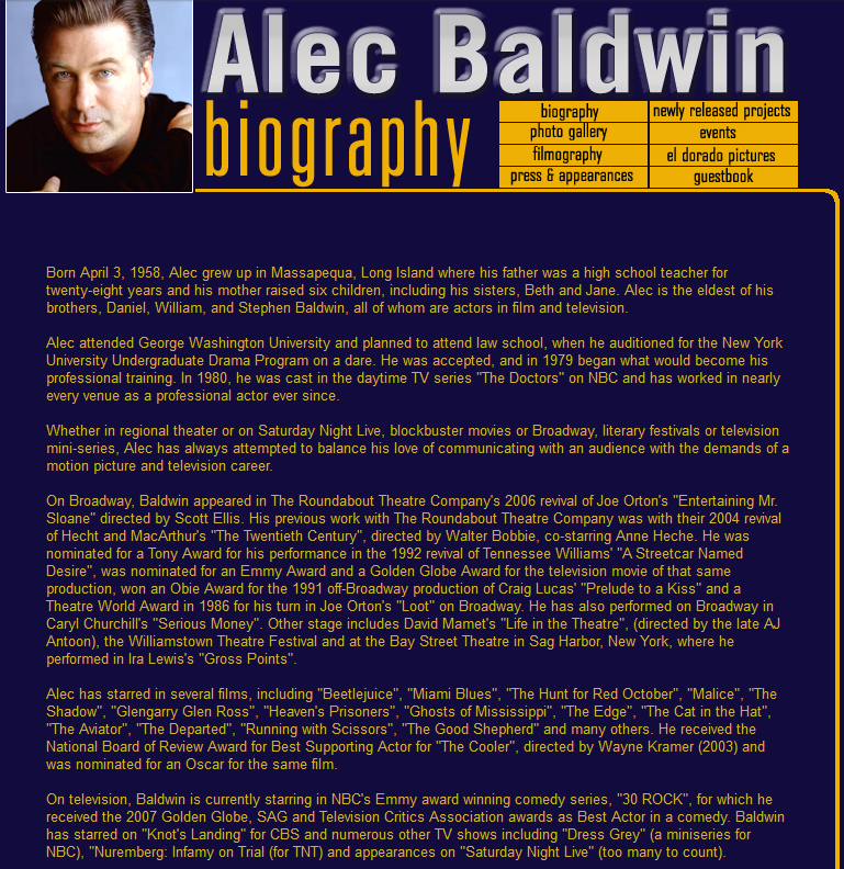 Alec Baldwin old biography text