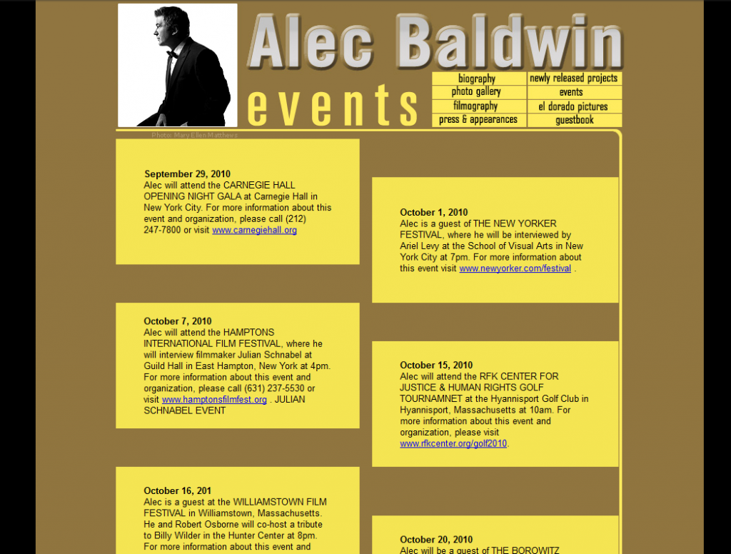 Events page for old version of Alec Baldwin.com