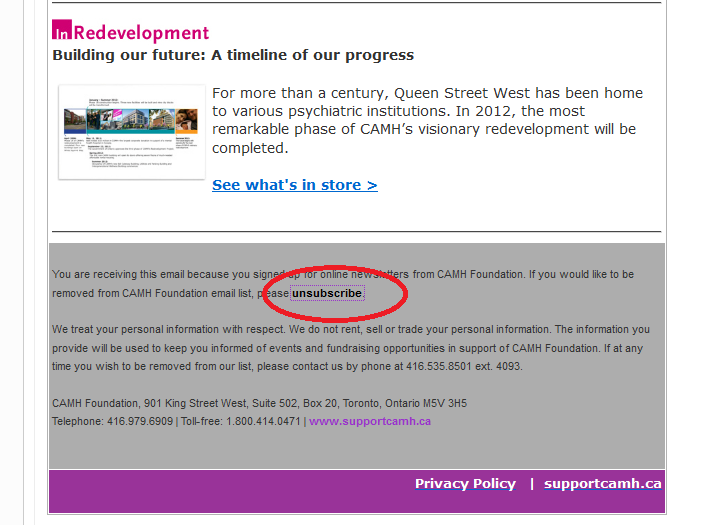 Unsubscribe option at the bottom of CAMH newsletter