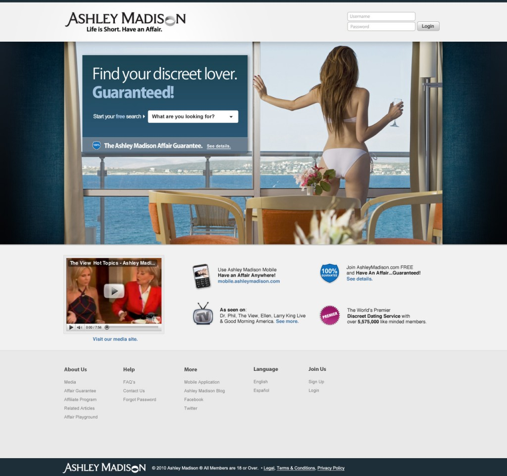 Ashley Madison alternate regional landing page for users in Florida
