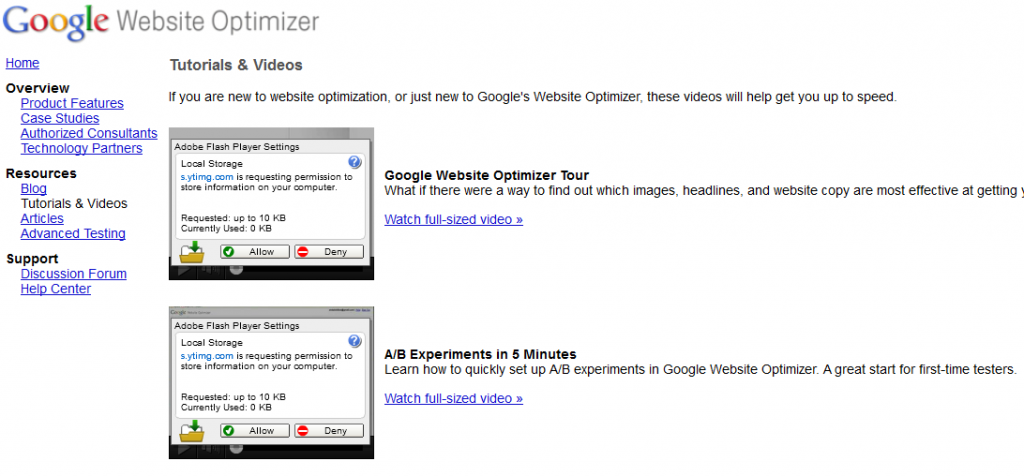 Tutorials Available in Google Website Optimizer