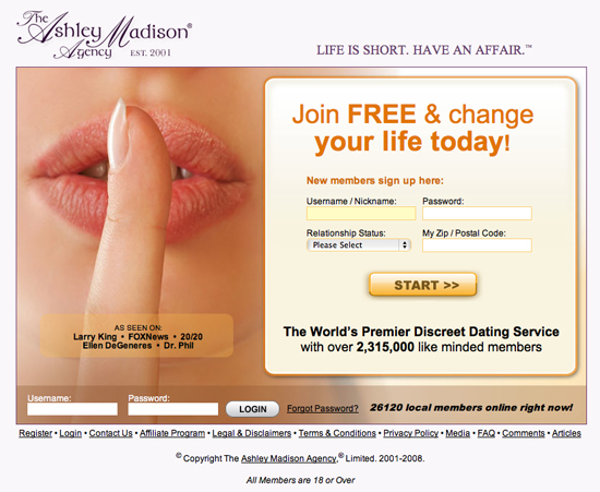 Old Landing Page for Ashley Madison