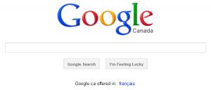 Google homepage (Canadian version)