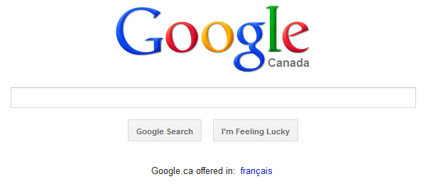 Google homepage (Canadian version)