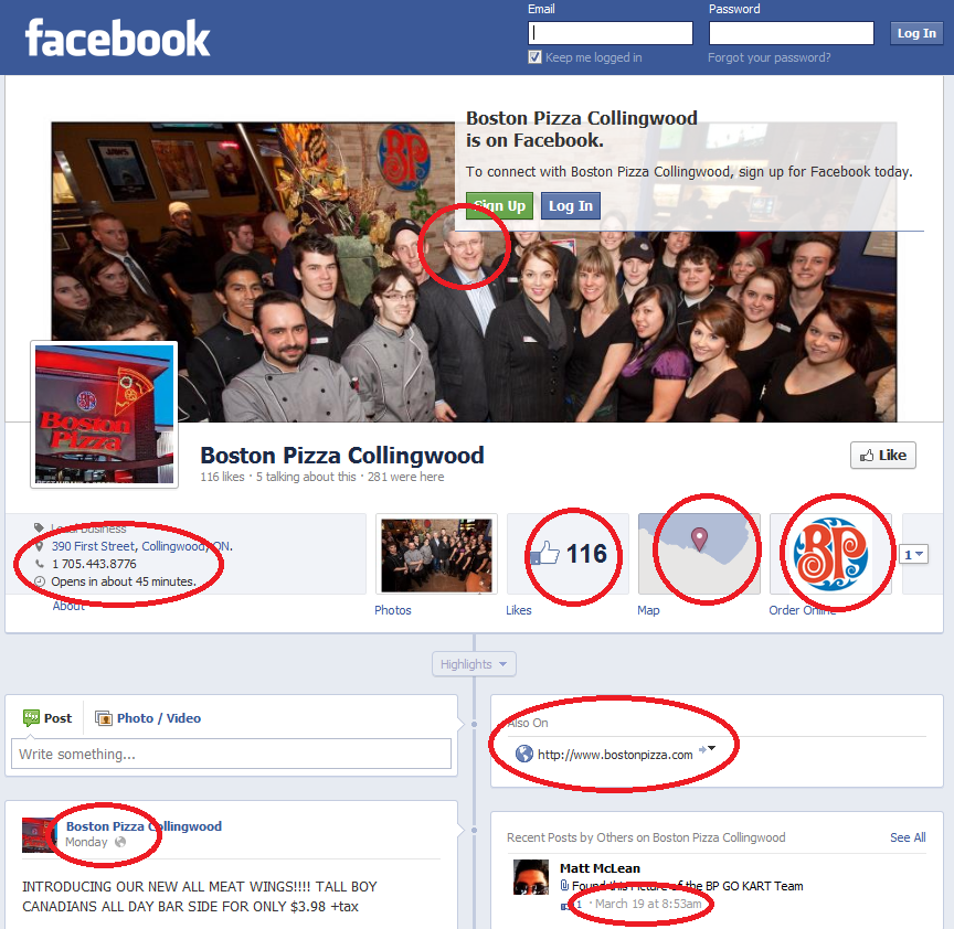 Boston Pizza Collingwood -- Facebook Page