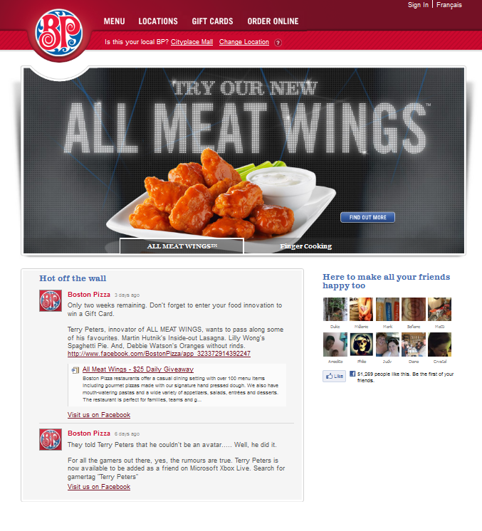 Boston Pizza Main Homepage