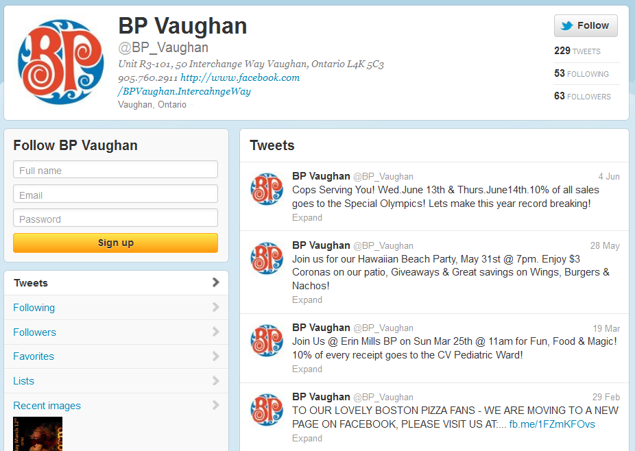 Twitter Page for @BPVaughan
