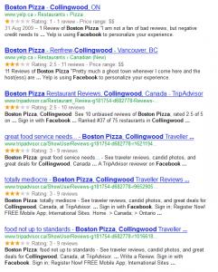 Boston Pizza Collingwood reviews via Google