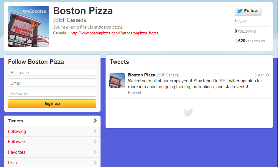 Central Boston Pizza account on Twitter