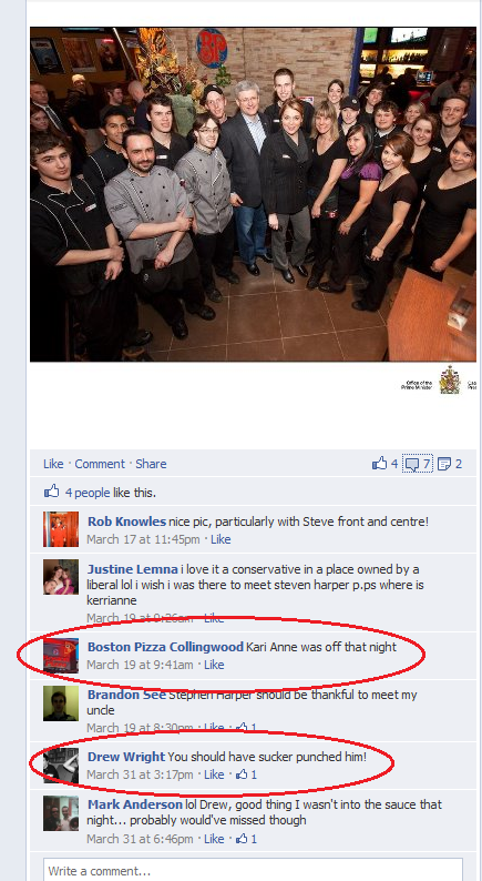 Harper Photo Comments on BP Collingwood Facebook Page