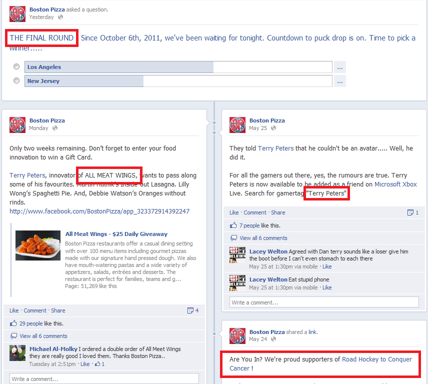 Main Boston Pizza Facebook Page--Sample Engagement Activity