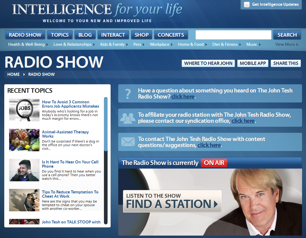 Radio section of the Tesh.com website