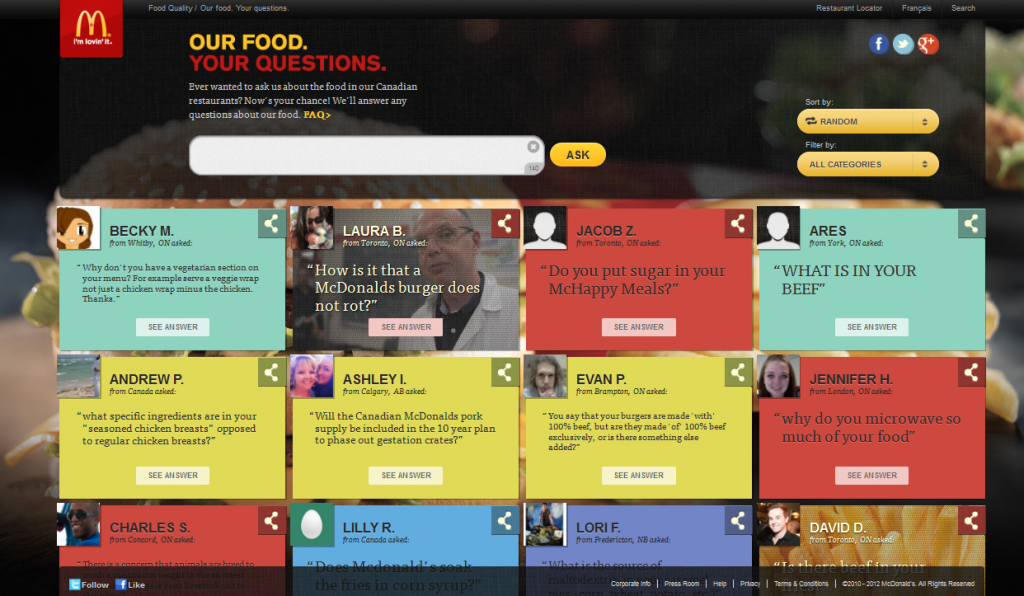 Main scroll for the Our Food Your Questions McDonalds site
