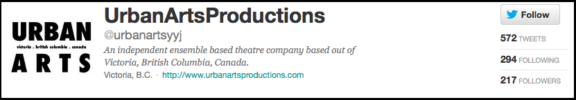 Urban Arts Productions Twitter Page