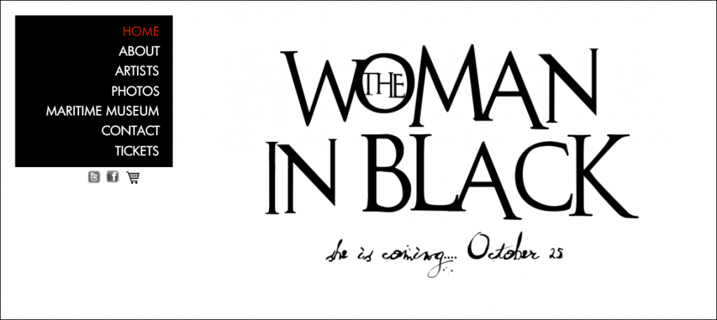 UAP homepage featuring their new show, The Woman In Black