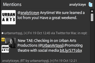 Feedback from Urban Arts Productions via Twitter