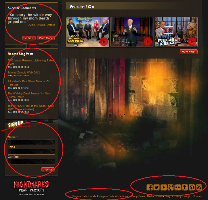 New features on the Nightmares Fear Factory website