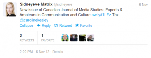 Sidneyeve tweet about Canadian Journal of Media Studies