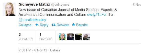 Sidneyeve tweet about Canadian Journal of Media Studies