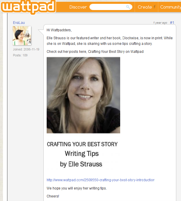 Elle Strauss' advice for writers on the Wattpad blog