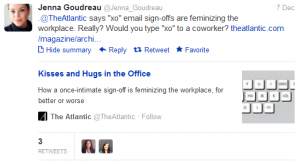 Jenna Goudreau original tweet about signing emails with XO